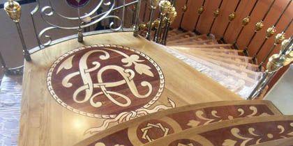 Stairs, wood paneling, linings, mosaic